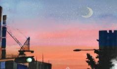 [거북이의 손그림] 하늘에 스며든 달