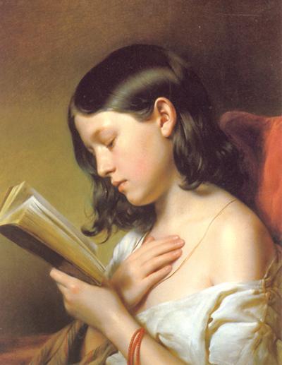 독서하는 처녀', 벨베데레박물관, 1850년, 캔버스에 유화, 프란츠 아이블..jpg