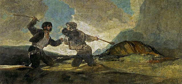 Francisco de Goya y Lucientes, Duelo a garrotazos(Fight with Cudgels),oil on canvas,1820-23.jpg