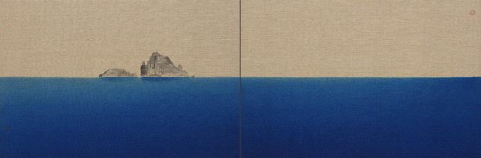 섬-독도, 김현철, 아사천에 채색, 60.6 x 91cm x 2ea, 2018.jpg