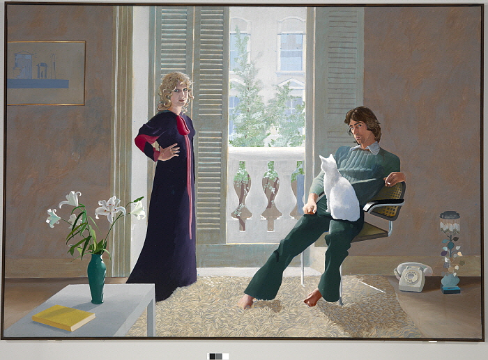 14. _Mr and Mrs Clarke and Percy_ 1970-1971 Acrylic on canvas 84_ x 120_.jpg