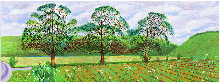 18. Three Trees near Thixendale, Spring 2008_ Oil on 8 canvases (36_ x 48_ each) 72 1_4_ x 192 e_4_ overall.jpg