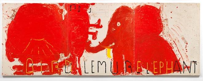 Red Painting Bird, Lemur and Elephant, 2016, Rose Wylie.jpg