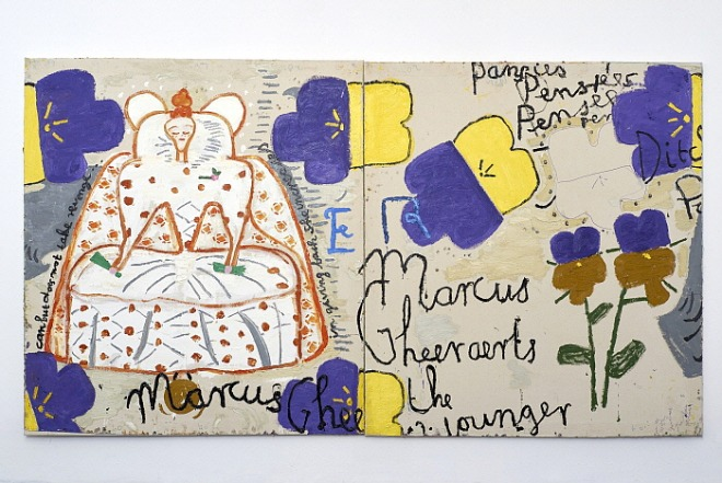 Queen of Pansies (Dots) 2016 Oil on Canvas 183 x 331 cm Rose Wylie.jpg