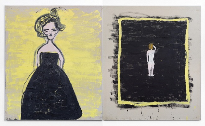Black Frock, The Modest Corset (Malevitch) 2019 Oil on canvas 183 x 312 cm Rose Wylie.jpg