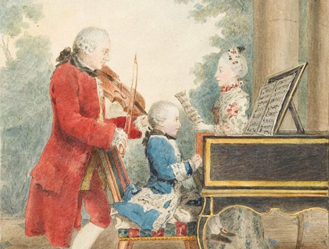 The Mozart family on tour by Carmontelle. 1763.jpg