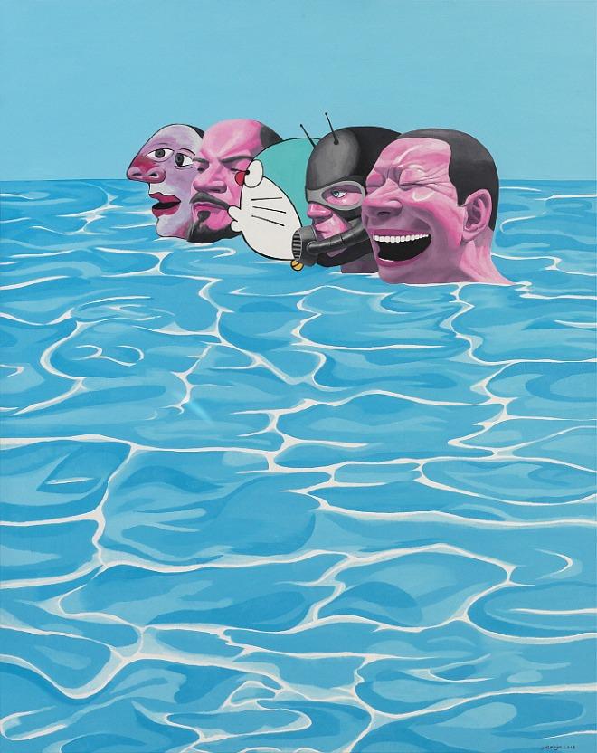 The Blue Ocean, Oil on Canvas 250x200cm ⓒYue Minjun 2020.jpg