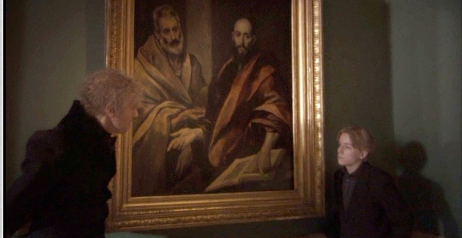 Custine discusses Rembrandt's Peter And Paul with a modern Russian atheist.JPG